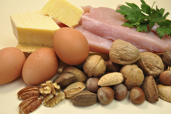 Healthy Diet food group, proteins, include meat (chicken or turkey), cheese, eggs and nuts.